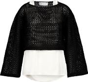 Woman Layered Crocheted Cotton Blend And Cotton Poplin Top Black Size 6