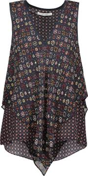 Woman Layered Printed Silk Crepe De Chine Top Midnight Blue Size 2