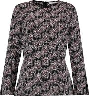Woman Pleated Printed Silk Top Black Size 6