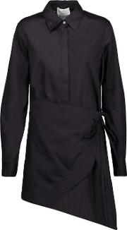 3.1 Phillip Lim Woman Asymmetric Wrap Effect Cotton Broadcloth Shirt Black