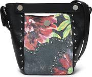 Studded Paneled Floral Print Leather Bucket Bag