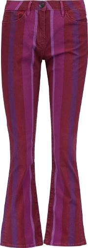Woman Mid Rise Flared Jeans Magenta Size 28