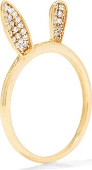 Woman Bunny Ear Rose Gold Plated Crystal Ring Gold Size 5