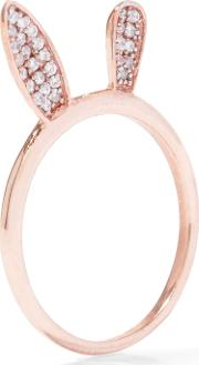 Woman Bunny Ear Rose Gold Plated Crystal Ring Rose Gold Size 5