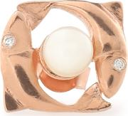 Woman Pisces Rose Gold Plated, Faux Pearl And Cubic Zirconia Earring Rose Gold