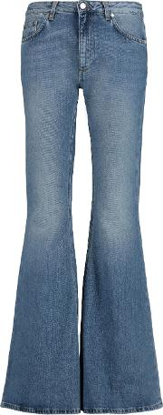 Woman Mello Mid Rise Faded Flared Jeans Mid Denim Size 27
