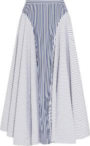 Woman Asymmetric Striped Cotton Poplin Midi Skirt Midnight Blue