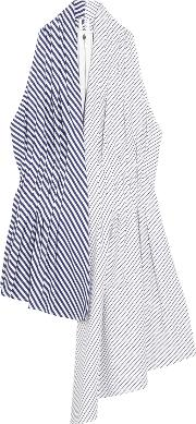 Woman Asymmetric Striped Cotton Poplin Top White Size 10