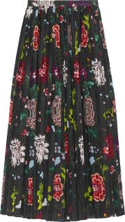 Woman Pleated Floral Print Voile Wrap Skirt Black Size 6
