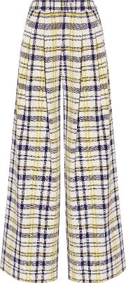 Woman Pleated Plaid Cotton Wide Leg Pants Yellow