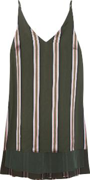 Woman Striped Satin Top Army Green Size 2