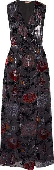 Woman Wrap Effect Floral Print Devore Chiffon Maxi Dress Black
