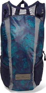 Woman Printed Shell And Mesh Backpack Navy