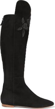 Woman Embroidered Suede Knee Boots Black Size 36