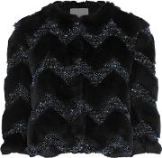 Woman Paneled Faux Fur And Boucle Cropped Jacket Black