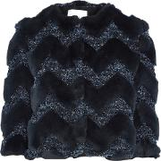 Woman Paneled Faux Fur And Boucle Cropped Jacket Midnight Blue