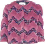 Woman Paneled Faux Fur And Boucle Cropped Jacket Pastel Pink