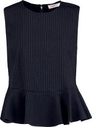 A.l.c. Woman Casara Pinstriped Twill Peplum Top Navy Size 12