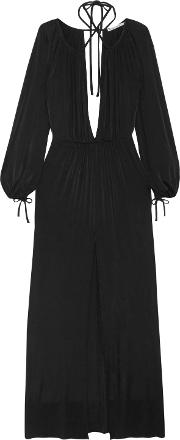 Woman Gathered Jersey Gown Black