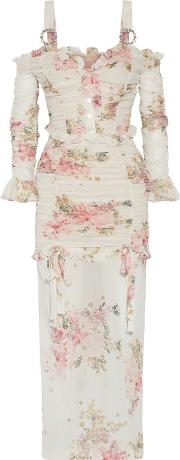 Woman Ruched Floral Print Stretch Silk Maxi Dress White