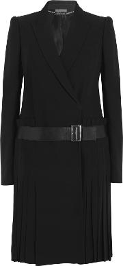 Woman Leather Trimmed Pleated Crepe Blazer Black