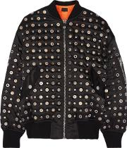 Woman Leather Trimmed Eyelet Embellished Shell Bomber Jacket Black Size L