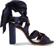 Woman Alessa Lace Up Satin And Suede Sandals Midnight Blue Size 35.5