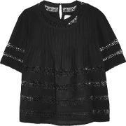 Woman Lace Paneled Pintucked Crepe De Chine Top Black Size Xs