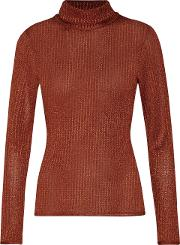 Alice+olivia Woman Farley Stretch-jersey Turtleneck Top Copper Size L Alice & Olivia Visit New Cheap Online 8epHHJdLz