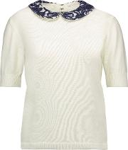 Alice Olivia Woman Braylee Lace Trimmed Cotton Sweater Ivory Size S