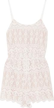 Alice Olivia Woman Cassia Lace Playsuit Ivory Size 6
