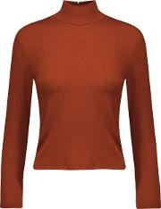 Alice Olivia Woman Garrison Stretch Knit Turtleneck Top Copper Size M