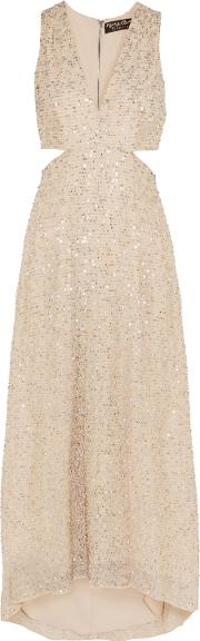 Alice Olivia Woman Juelia Cutout Embellished Metallic Mesh Gown Gold Size 12