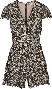 Alice Olivia Woman Tinsley Guipure Lace Playsuit Black Size 4