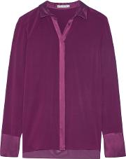 Alice Olivia Woman Wyatt Satin Trimmed Silk Blend Chiffon Shirt Plum