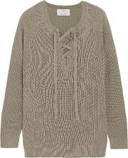 Woman Lace Up Wool And Cashmere Blend Sweater Army Green