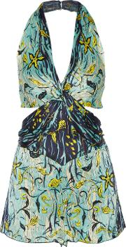 Woman Cutout Printed Silk Crepon Playsuit Turquoise Size 2