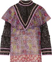 Woman Embroidered Tulle And Printed Silk Blend Chiffon Blouse Purple