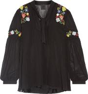 Woman Garden Embroidered Georgette Blouse Black