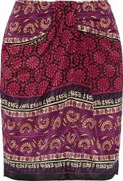 Woman Printed Silk And Cotton Blend Mini Skirt Claret