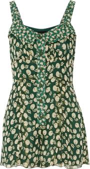 Woman Printed Silk Georgette Playsuit Green Size 0