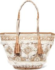 Woman Bally Embellished Woven Raffia Tote Neutral