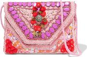 Woman Coza Embellished Cotton Shoulder Bag Pink Size