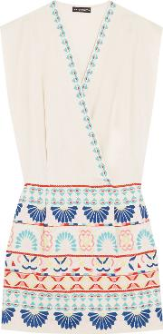 Woman Embroidered Cotton Blend Canvas Mini Dress