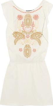 Woman Embroidered Cotton Mini Dress Off White