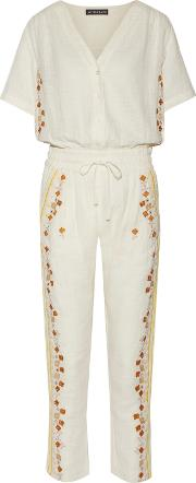 Woman Sharlen Sequin Embellished Embroidered Cotton Gauze Jumpsuit Ecru Size 40