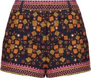 Woman Sharlen Sequin Embellished Embroidered Cotton Gauze Shorts Midnight Blue Size 42