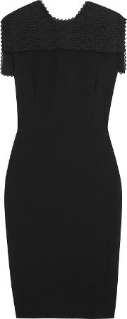 Woman Broderie Anglaise Trimmed Crepe Dress Black
