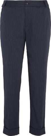 A.p.c. Woman Adele Pinstriped Cotton Blend Tapered Pants Navy