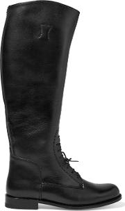 Woman Palencia Lace Up Leather Riding Boots Black Size 7